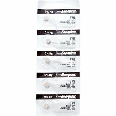 5 x Energizer 379 Watch Batteries, 0% MERCURY equivilate SR521SW