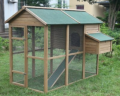 "Large 79"" Deluxe Solid wood Hen Chicken Cage House Coop Huge w/ Run nesting box"