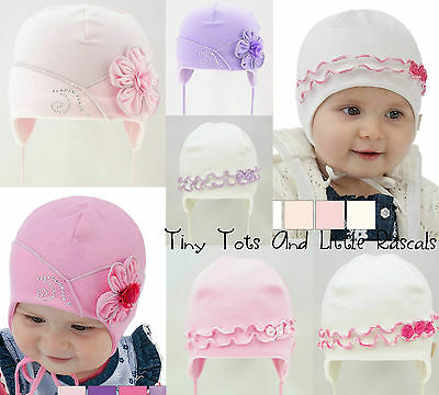 Infant Girls Toddlers Spring Autumn Cotton Elastic Hat Size 0-24 mths 2-4 Years