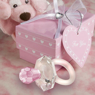 Pink Crystal Pacifier Charm Pendant Girl Baby Shower Christening Party Favor