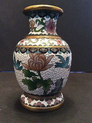 Signed Antique Chinese Footed Cloisonne Vase With Brass