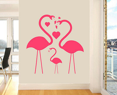 Flamingo Family Wall Art Vinyl Stickers Birds Love African Transfer Mural Decals