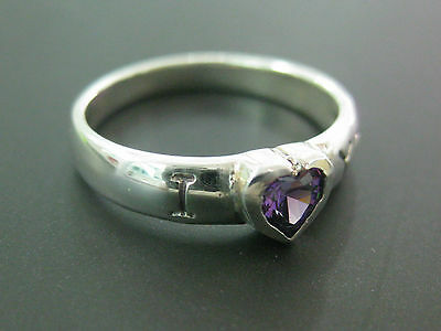 REAL sterling silver Childrens kid PURPLE cz I love (heart) you RING - 925 STAMP