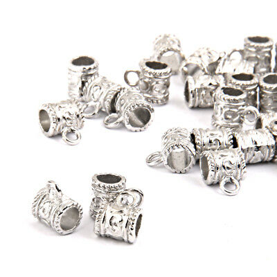 50x Tibetan Silver Tone Bails Cup Beads Hanger Charms Jewelry Findings 8x7mm
