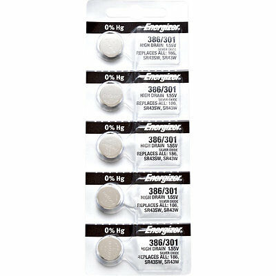 5 x Energizer 386 Watch Batteries, 0% MERCURY equivilate SR43W or 301