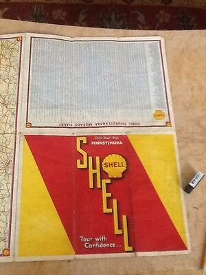 vintage shell oil road map 1930s united states - Pennsylvania