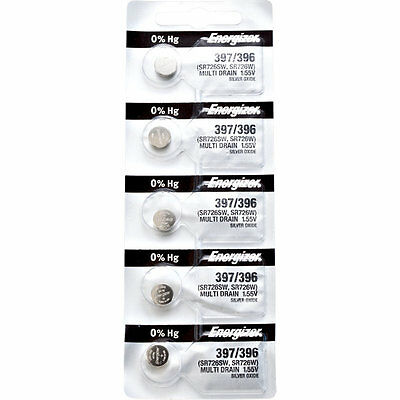 5 x Energizer 397 Watch Batteries, 0% MERCURY equivilate SR726SW or 396