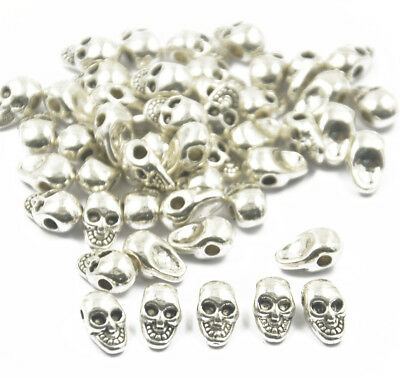 50 Antique Silver Metal Charm Skull Beads For Paracord Bracelet Lanyards