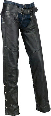 Z1R Women's CARBINE Leather Motorcycle Riding Chaps (Black) M (Medium)