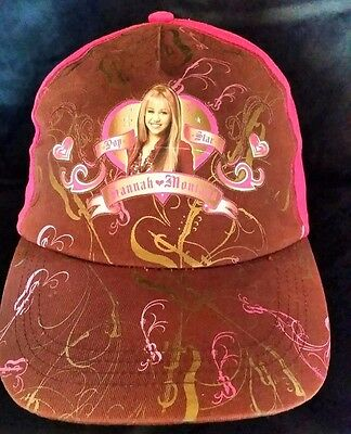 Vintage Hannah Montana Hat, one size fits all, Brown / Pink
