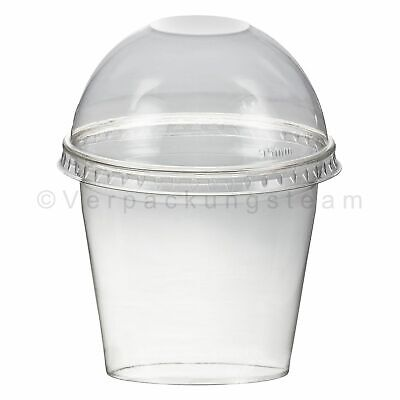 Einwegbecher SET to go Smoothiesbecher mit Domdeckel 250 ml Ø95mm PET glasklar