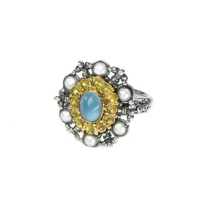 Gerochristo: Silver and 18k Solid Gold Handmade Byzantine Ring Aquamarine