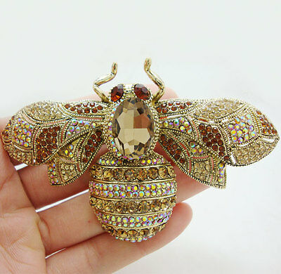 Vintage Retro Bee Insect Gold-plated Brooch Pin Brown Crystal Rhinestone