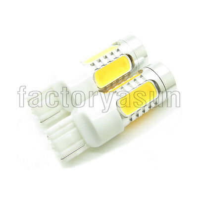 2 X Yellow Amber T20 7.5W W21W 7443 COB LED Bulb Car Turn Signal Light 12V
