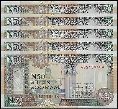 Somalia 50 Shillings X 5 Pieces (PCS), 1991, P-PR2, UNC