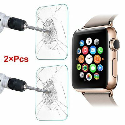 2 x Scratch Shatter Proof Tempered Glass Screen Protector for Apple  iWatch 38mm