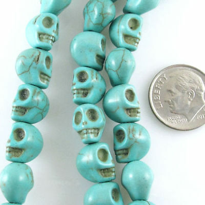 * Pack Of 10 Natural Green Turquoise Skull Design Beads