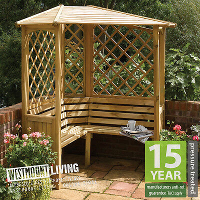 New Wooden PRESSURE TREATED Corner Garden Arbour Bench Seat
