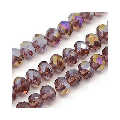 70+ Dull Magenta Czech Crystal Glass 6 x 8mm AB Faceted Rondelle Beads HA20410