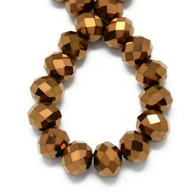 70+ Copper Czech Crystal Opaque Glass 6 x 8mm Faceted Rondelle Beads HA20565