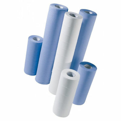 "BLUE & WHITE 20"" 2ply 40m Couch Hygiene Medical Massage Tattoo Rolls"