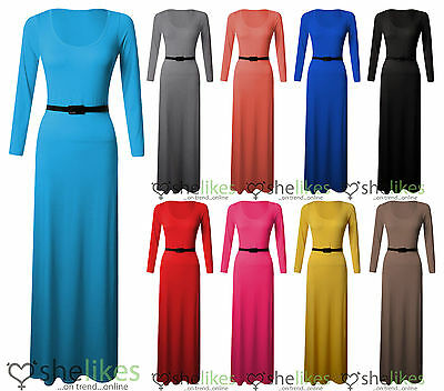 Womens Ladies Long Sleeve Round Scoop Jersey Belted Long Maxi Dress Top 8-26