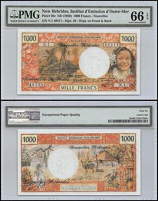 New Hebrides 1,000 (1000) Francs, ND 1980, P-20c, UNC, PMG 66 EPQ