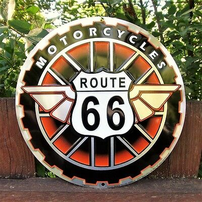 Route 66 Motorcycles Embossed Tin Metal Sign - Harley Davidson - Indian - Retro