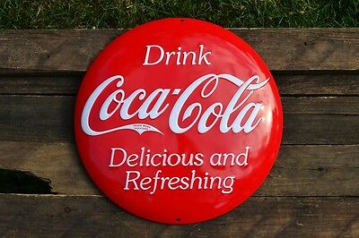 """Coca-Cola Domed Button Embossed Tin Metal Sign - 14.5""""  - Vintage - Retro - Coke"""
