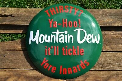 Mountain Dew Button Embossed Tin Metal Sign  - Vintage - Retro MTN - Pepsi Soda