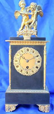 ANTIQUE FRENCH BRONZE FIRST EMPIRE CHERUB MOCK PENDULUM 8 DAY MANTLE CLOCK 1810c