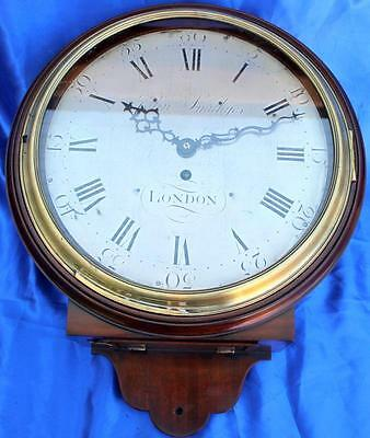 "John Smithyes London Georgian Antique English 8 Day 12"" Fusee Dial Clock"