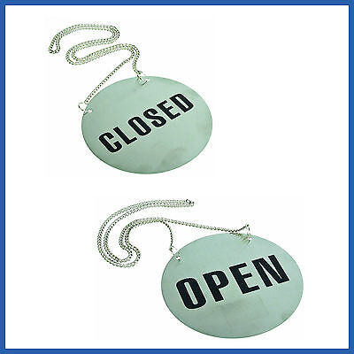 1 x Open Closed Stainless Steel  Shop  Sign Restaurant Hanging  Metal Chain