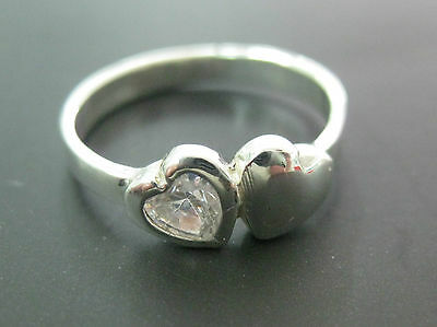 REAL sterling silver Children kid WHITE cz DOUBLE full HEART ring - 925 STAMPED