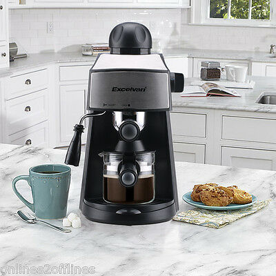 Espresso Cappuccino Latte Coffee Maker Machine Stainless Steel 3.5 Bar 4 Cup Kit