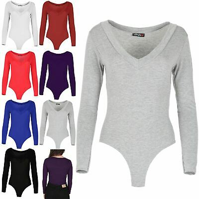 Ladies Leotard Top Womens Full Sleeve V Neck Stretchy Fitted Plain Bodysuit