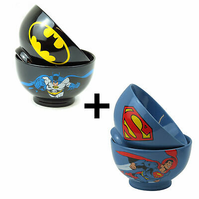 Two Bowls Batman & Superman Gift Ceramic Cereal Dish Dark Knight Man Of Steel