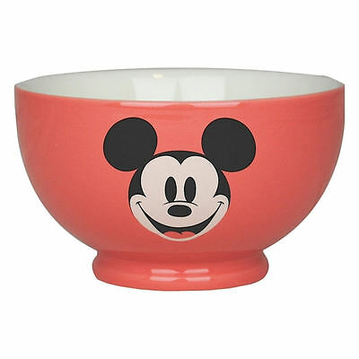 Pink Mickey Mouse Face Ceramic Bowl Retro Gift Cereal Disney Kids Soup Minnie