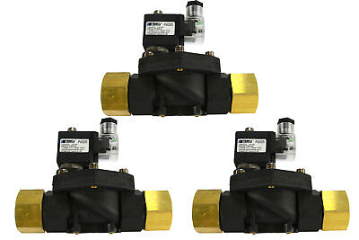 "3 LOT 1"" NPT Electric Plastic Nylon Solenoid Air Water Valve NC 12V DC pneumatic"