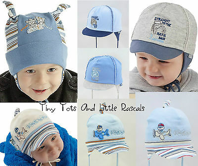 Boys Toddlers Spring Autumn Cotton Elastic Blue Hat Size 0 - 24 mths 1 2 4 Years