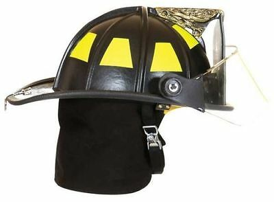 """FIRE-DEX 1910 Traditional Style Fire Helmet with 4"""" Visor, Black, Carved Eagle"""