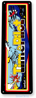 TIN SIGN Time Pilot Arcade Game Room Shop Marquee Console Metal Décor B038