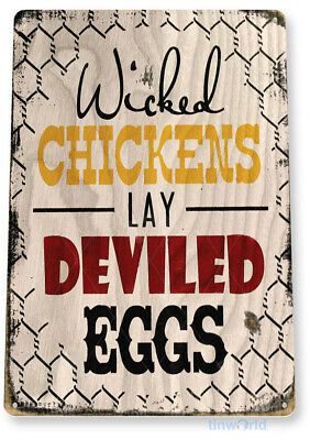 "TIN SIGN ""Chicken Eggs"" Pen Coop Eggs Decor Kitchen Cottage Farm Barn Store B059"