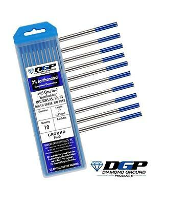 "Diamond Ground TIG Tungsten Electrodes 2% Lanthanated BLUE 3/32""x7"" (10 Pack)"