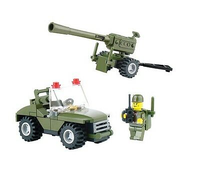 Loomen 6041 WWII Army Jeep Artillery Set 93pcs - bricks Compatible with Lego