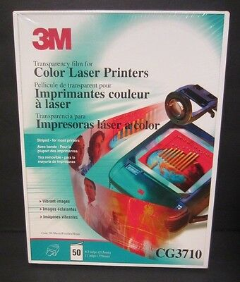 3M CG3710 Color Laser Transparency Film 50 Sheets 8.5 X11 NIP