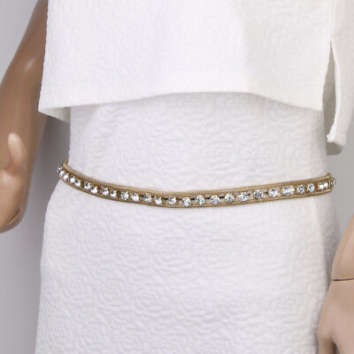 Fashion Womens Ladies Gold Metal Crystal Diamante Chain Waist Belt Waistband