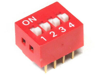 DIP Switch Slide Type 8-Pin 4-position Red / 4-gang Encoder Switch Red 2.54mm