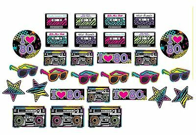 1980 1980's Totally 80's Disco Party 30 Piece Assorted Cut Out Decorations