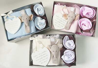 Baby Gift Set Box Newborn Boy Girl Pink Blue White Blanket Rattle Bibs Plaque